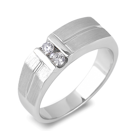0.10 Carat TW Canadian Diamond Two Stone Anniversary Band Ring in White Gold