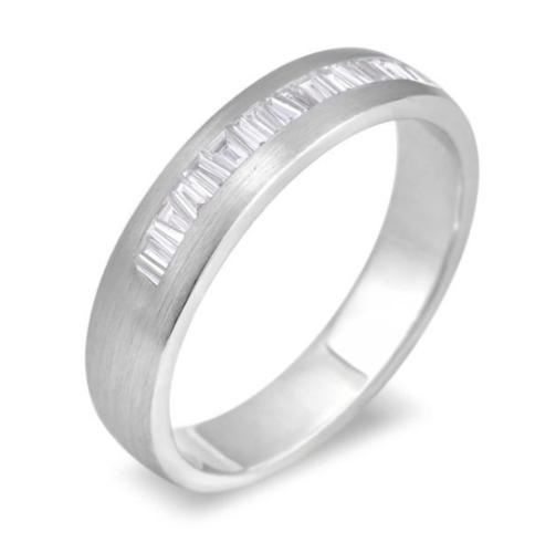 0.25 Carat TW Men's Diamond Wedding Band in White Gold