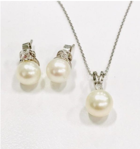 Canadian Diamond and Pearl Earrings & Pendant Set