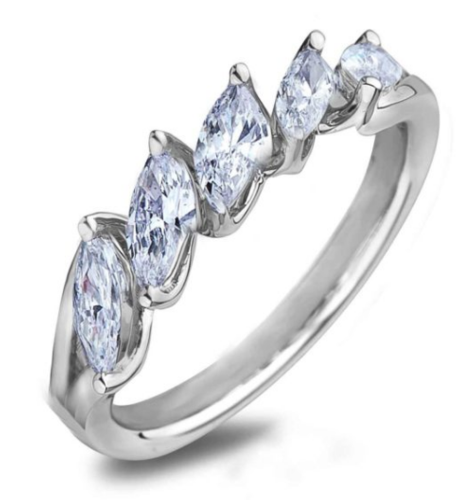 0.40 Carat TW Marquise Canadian Diamond Anniversary Ring In White Gold