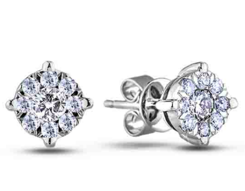0.58 Carat TW Canadian Diamond Halo Stud Earrings in White Gold