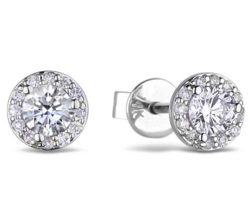 0.22 Carat TW Certified Canadian Diamond Halo Stud Earrings in White Gold