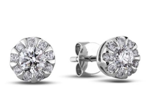 0.34 Carat TW Canadian Diamond Halo Stud Earrings in 14K White Gold