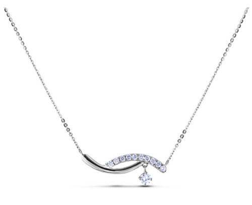 0.11 Carat Canadiand Diamond Wave Necklace in White Gold