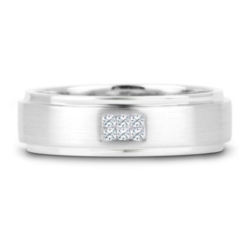 0.12 Carat TW Men's Square-Cut Diamond Wedding Band in White Gold