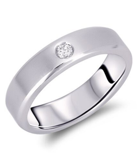 0.11 Carat Men's Solitaire Diamond Wedding Band in White Gold