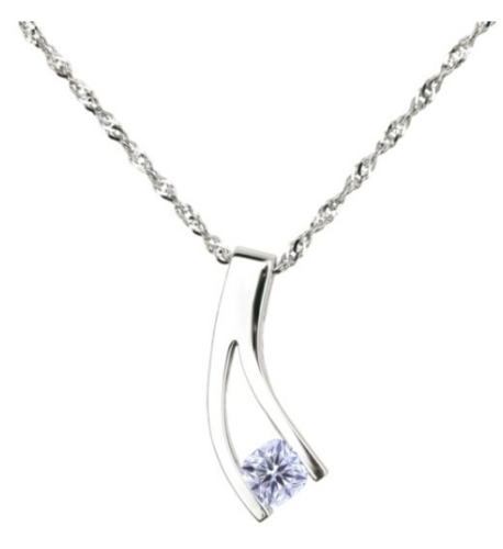 0.32 Carat Canadian Cushion Cut Solitaire Diamond Pendant in 14K White Gold