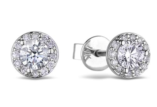 0.40 Carat TW Canadian Diamond Halo Stud Earrings in 14K White Gold