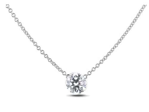 0.24 Carat Canadian Diamond Solitaire Necklace in 14K White Gold