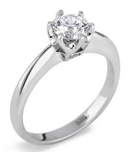 1 Carat Forevermark Diamond Solitaire Engagement Ring in 18K White Gold