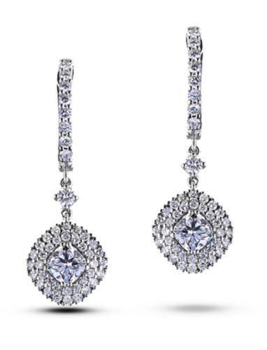 1.42 Carat TW Forevermark Diamond Dangle Halo Earrings in 18K White Gold