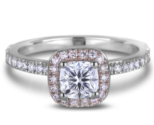 0.84 Carat Forevermark Diamond and Fancy Pink Diamond Halo Engagement Ring in 18K White and Rose Gold