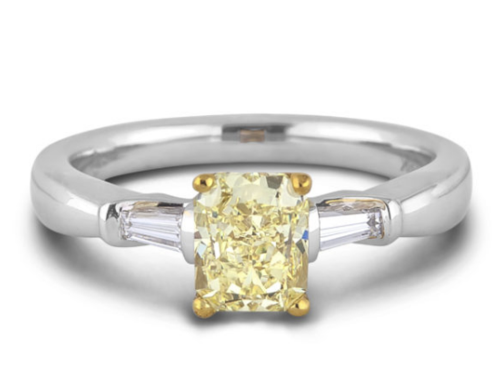 1.70 Carat GIA Certified Fancy Yellow Trilogy Engagement Ring in 18K White Gold