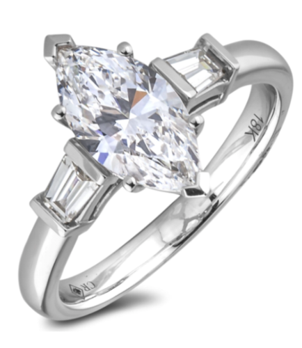 1.52 Carat GIA Diamond Marquise Trilogy Ring in 18K White Gold