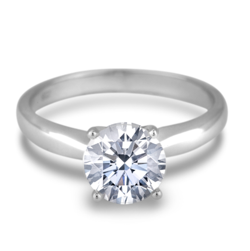 3.02 Carat AGS Diamond Solitaire Engagement Ring in 14K White Gold