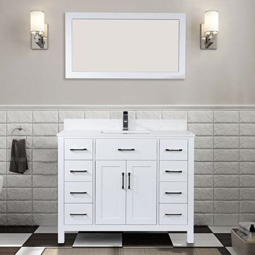 45 Bathroom Vanity with Quartz Counter and Faucet