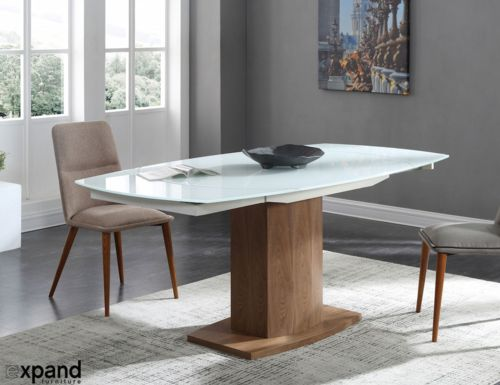 Image 1 for Baobab - Oval Glass White Extendable Kitchen Table