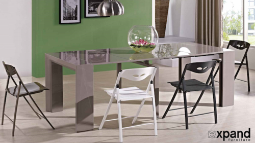 Junior Giant Table Console to Dining table - Glossy Grey Coffee