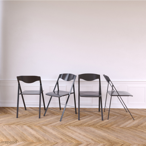 Magro Folding Chairs x 4 - Matte Grey