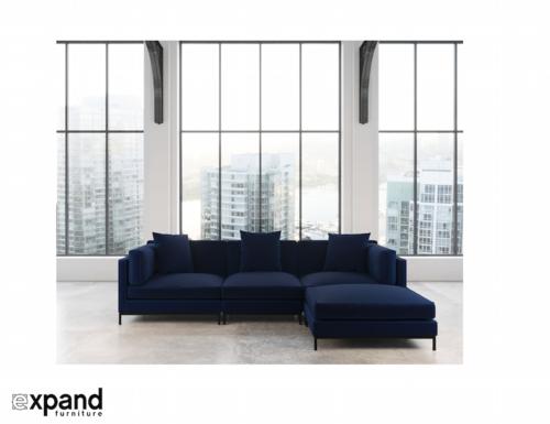 Image 1 for Migliore Sectional - Fabric Modular Design - Navy Blue Velvet