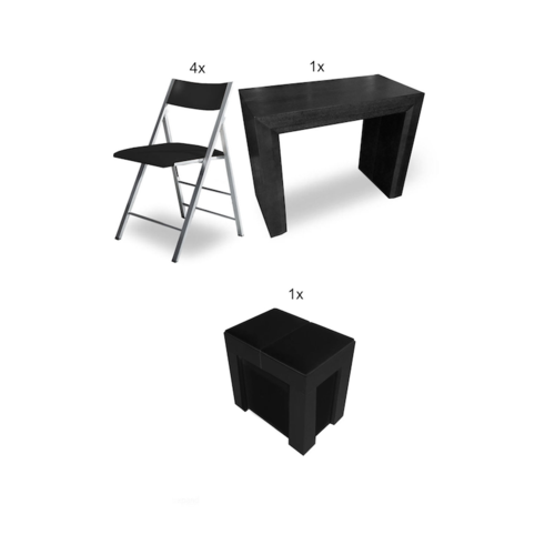Image 1 for Ultimate Space Saving Dining Table Set - Black