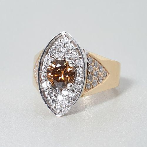 Image for Ladies Custom 14K Yellow Gold Brown Zircon Ring