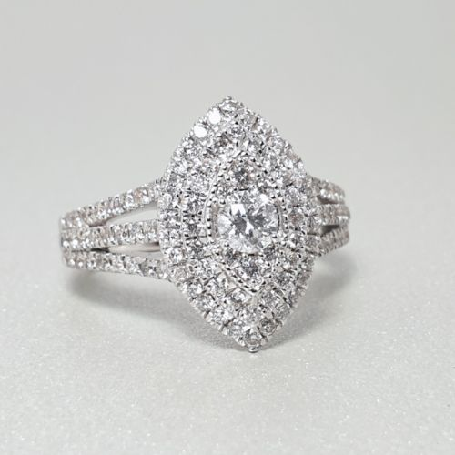 Image 1 for Marquise Diamond Cluster Engagement Ring