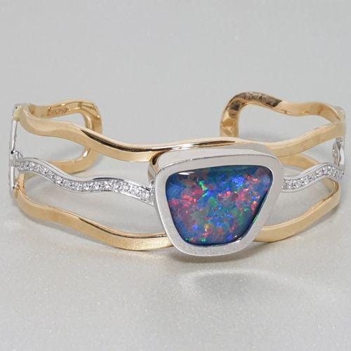 14K Opal Diamond Bangle