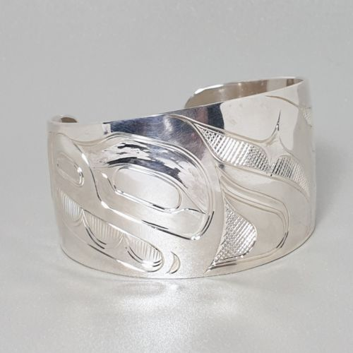 Hand Carved Sterling Silver Wolf Bangle